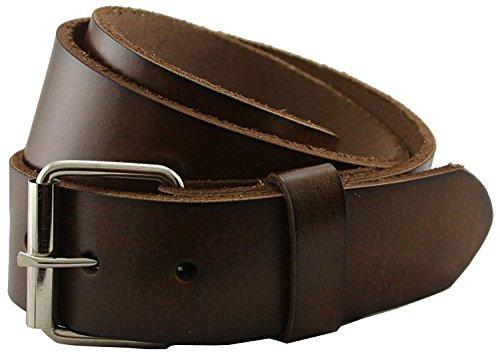 Seris -100% Solid Genuine Leather Belt with Metal Roller Buckle (34 Brown) ()