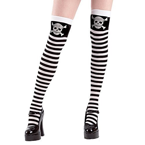 Black And White Striped Socks Costume (Skull & Crossbones Striped Thigh-High Halloween Women's Cosplay Costume Tights)