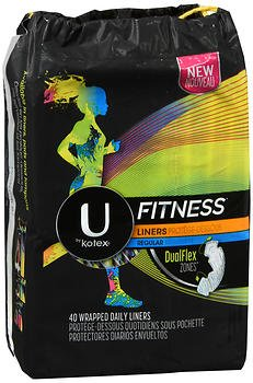 U by Kotex Fitness Liners Regular, 40 Wrapped Daily Liners (Pack of 2)