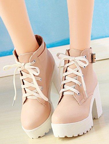 IDIFU Womens Fashion Chunky Platfrom Lace Up Buckle Ankle Boots Pink u0OOj