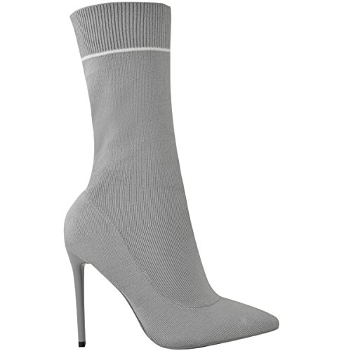 Fit Ladies Fashion Womens Heels Size High Ankle Sock Stretchy Pointy Boots Calf Knit Grey Stiletto Thirsty rCCw5WqxF0