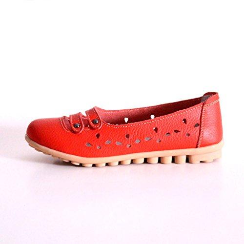 YAANCUN Mujeres Cuero Flats Casual De Plana Zapatos De Los Zapatos Del Barco Zapatos De La Enfermera Naranja