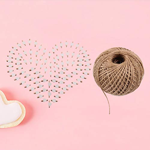 101pcs Picture Clips Set with Jute Twine Wood Craft Clips Photo Pins Clothepins with White Heart Pattern (100pcs Clips and 1pc 100Yard String) by BESTOYARD (Image #4)