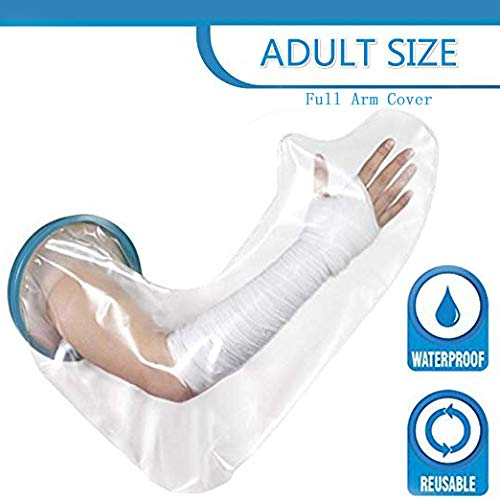 Long Full Upper Sleeve Arm Hand Bandage Waterproof Protector Cast Shower Cover Keep Wound Injury Dry PICC Line Bath Swim Watertight 100% Seal Adult