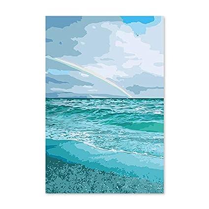 Rzyyd Peinture Au Numéro Le Paysage De Mer Arc En Ciel Diy