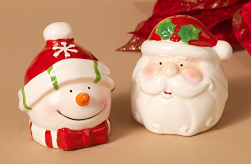 (Adorable Christmas Holiday Santa and Snowman Salt and Pepper Shaker Set ~ Ceramic ~ 3