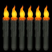 Micandle Set of 6 Flameless Led Taper Candles With Timer,Yellow Flickering Battery Ivory Candlesticks,6 hours on,18 hours off(Battery not included)