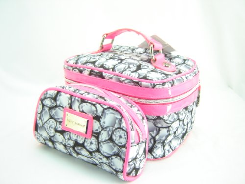Betsey Johnson Jeweler Box 2 Piece Train Make Up Case Set Silver Pink Multi, Bags Central