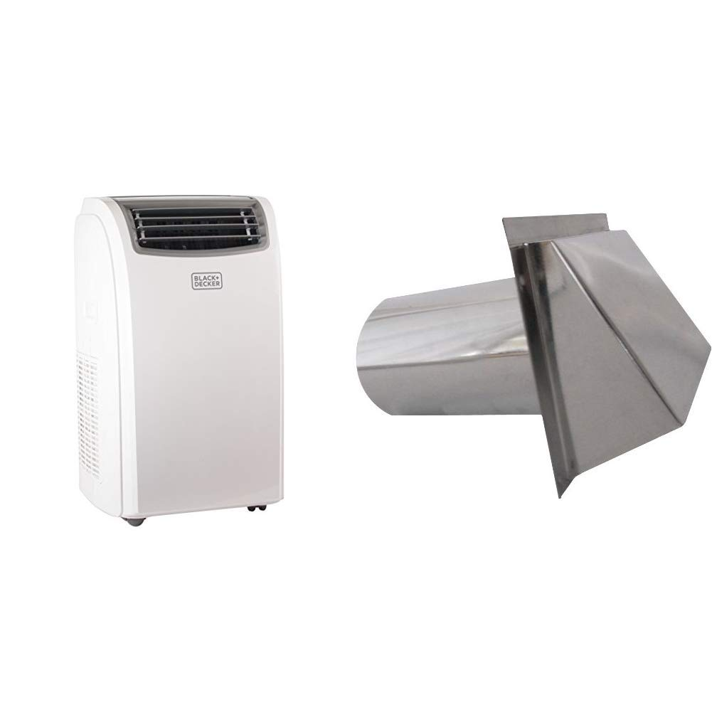 BLACK + DECKER 14000 BTU Portable Air Conditioner Unit + 11000 BTU Heater, LED Display, Window Vent Kit, 4 Caster Wheels, White & Speedi-Products SM-RWVD 5 Wall Vent Hood with Spring Damper, 5-Inch by BLACK + DECKER