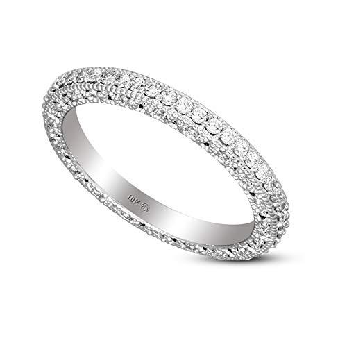 Lab Grown Diamond Rings IGI Certified 5/8 Carat Diamond Ring For Women Eternity Band Diamond Rings 10K White Gold GH-SI Quality Lab Created Diamond Engagement Rings For Women Jewelry Gifts For Women (Gold Band Diamond Engagement Ring)