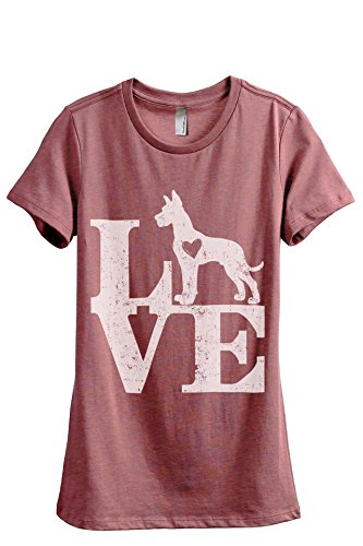 Relaxed T-shirt Crew Love (Love Great Dane Dog Women's Fashion Relaxed T-Shirt Tee Heather Rouge Large)