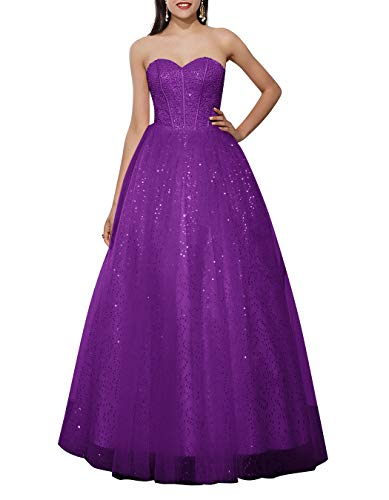 ALAGIRLS Women Strapless A Line Long Evening Dress Beaded Tulle Lace Up Back Formal Prom Gowns Purple US26Plus