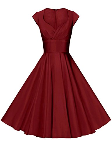 GownTown Womens Dresses Party Dresses 1950s Vintage Dresses Swing Stretchy Dresses DarkRed ()
