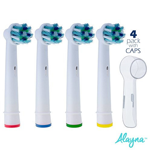 Protective Case Bonus (Oral B Replacement Brush Heads- Pack of 4 Crossaction Oral-B Braun Generic Electric Toothbrush Heads PLUS 4 Bonus Protective Travel Covers - Cases Keep Oralb Cross Action Brushes Clean & Sanitary)
