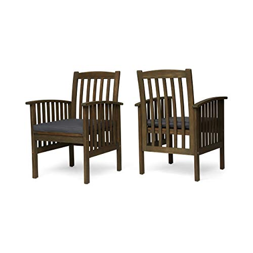 Great Deal Furniture Phoenix Acacia Patio Dining Chairs, Acacia Wood with Outdoor Cushions, Gray and Dark Gray (Set of 2) (Best Deals On Patio Furniture)