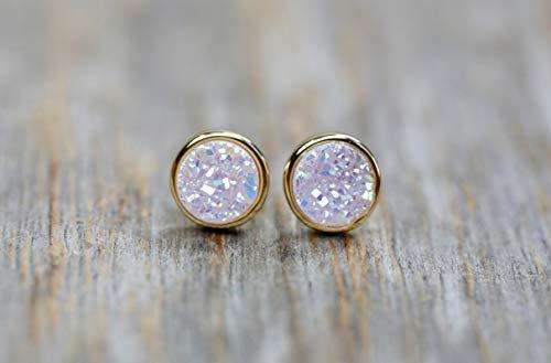 Genuine White Round Druzy Quartz Gemstone Stud Earrings -7mm