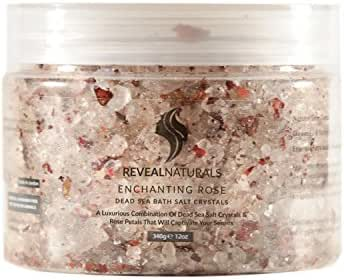 All Natural Dead Sea Bath Salts Crystals Infused with Real Roses, Argan Oil & Essential Oils. Best for Energizing, Relaxation, Rejuvenating & Healing Psoriasis, Eczema, Acne & Scars