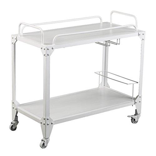 Furniture HotSpot Rolling Bar Cart w/Wheels - Unique Serving Entertainment Cart - Two Tier (Metal Finish Cart)