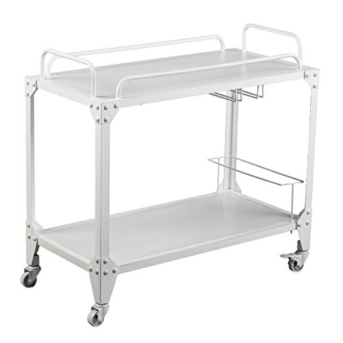 (Furniture HotSpot – Bar Cart with Wheels - Distressed White - 34