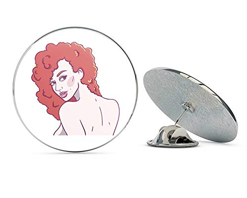 BRK Studio Sexy Topless Comic Woman with Red Hair Afro Cartoon Round Metal 0.75