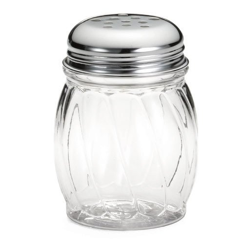 Tablecraft 6 Oz Swirl Plastic Shaker with Perforated Chrome Plated Top