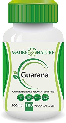 100% Pure Fruit Guarana Dietary Supplement Capsules: 500mg X 100 Capules (Vegan) - Amazon Rainforest - Gluten-free - Non-GMO - Stay Alert - Increase in Stamina - Supports Wellness (1-Pack)