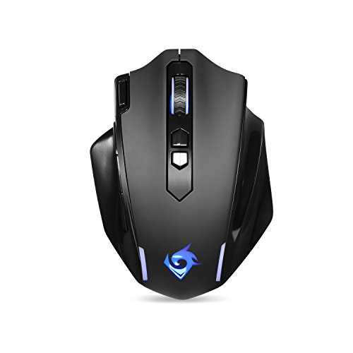 Wireless Gaming Mouse for PC Gamer, 9 Button Programmable Cordless LED Backlit Gaming Mouse 4800 DPI Adjustable, Ergonomic Portable Computer Mouse, MG001 by EagleTec [New Version]