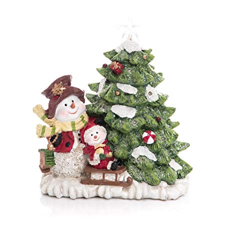 (Transpac Imports D0202 Resin Light Up Christmas Tree Scene Decor, Green)