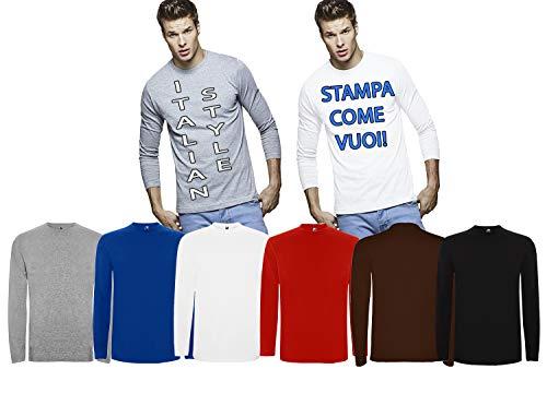 Personalizzato Generic Brand No Nero Uomo T italiana Diffusion Grigio Rosso shirt stile Manica Borgogna lunga Bianco Stampato Blu wqpqPnB45