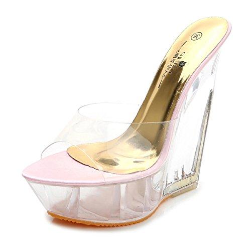 Otoño Party Mujeres Zapatos Club Pink Pu Primavera Peep 39 Señoras Eur De Dressy Plataforma Tacón Nvxie Sandalias Alto 6 Las 6 5 Transparente Wedge uk Noche eur38uk55 Nueva Zapatillas Toe aqtWwvR
