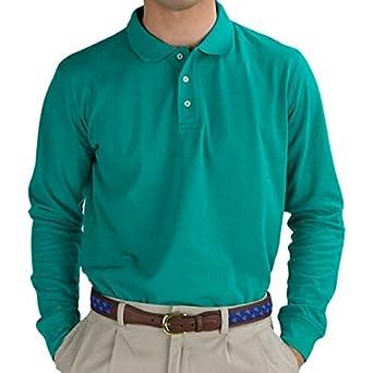 Emerald Green Long Sleeve Polo Shirt at Amazon Men's Clothing ...