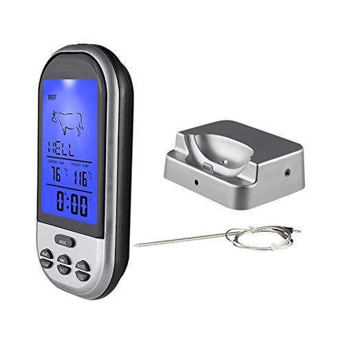 Wireless Barbecue Meat Thermometer LCD Display Digital Temperature Gauge Timer Stainless Steel Probe for Kitchen Cooking