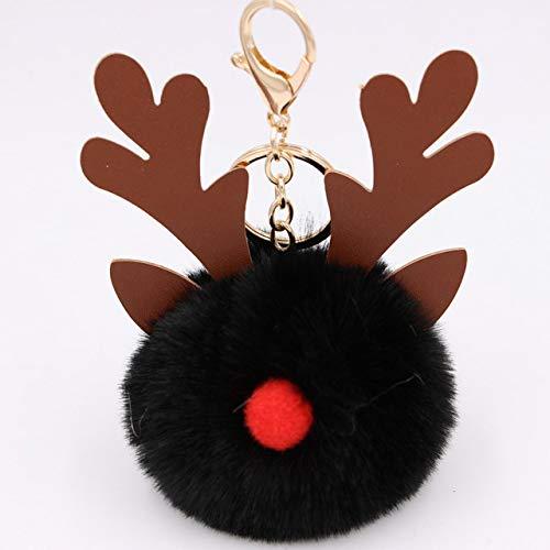 Poof Keychain Cartoon Keychian Christmas moose Hair Ball Keychains Women Charm Bags keychain Christmas Accessories Pendant Car Key 7