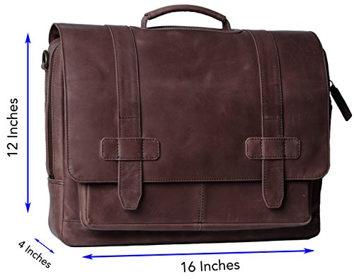 Genuine Leather Messenger Laptop Bag/Briefcase for Men, LOGAN, fits 15.4 inch Laptop, adjustable strap, 16 inch by 12 inch by 4 inch (Chestnut) by Ladderback by Ladderback (Image #2)