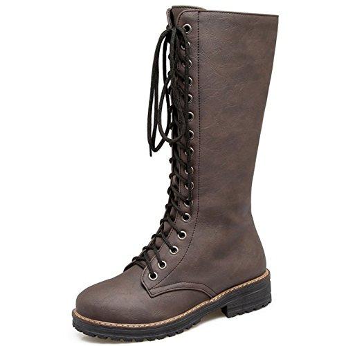 TAOFFEN Women High Punk Boots Brown Up Mid Platform Lace Fashion Combat Zqw1rTpZ