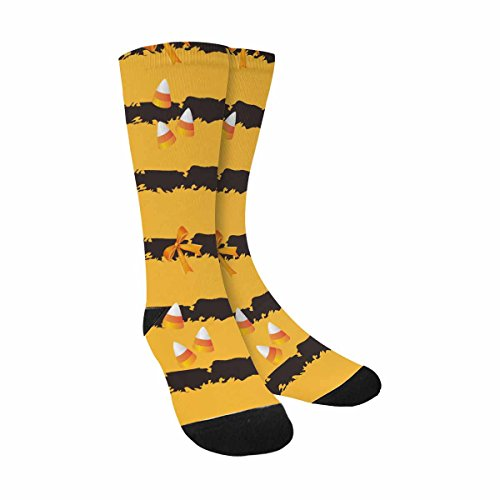 INTERESTPRINT Funny Cute Novelty and Cool Halloween Candy and Ribbon on Orange Background Sublimated Crew Socks -