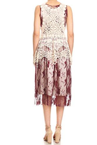 Cocktail Anna Women Burgundy Crochet Kaci Lace Flare Fit Vest Dress Boho Party Sleeveless qz4Agxwrq