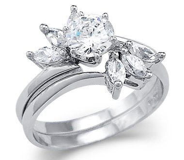 Size- 6 - Solid 14k White Gold Solitaire CZ Cubic Zirconia Engagement Two Ring Set New 1.0 ct