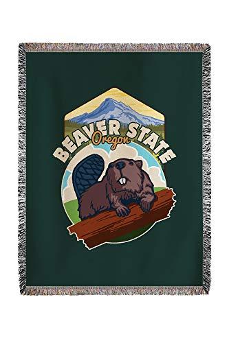 Lantern Press Beaver State, Oregon - Beaver and Mountain - Contour 98866 (60x80 Woven Chenille Yarn Blanket) ()