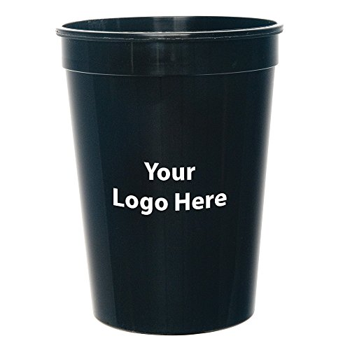 Cup Logo (Personalized Custom Stadium Cups - Smooth Finish - 50 Quantity - $1.05 Each - Bulk Promotional Product Branded with Your Logo / Customized. 12-ounce capacity.)