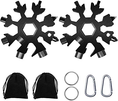 Snowflake Multitools, 2 Pcs 18-in-1 Screwdriver Standard Multi Tool Bottle Opener for Outdoor and Indoor Use, Stainless Steel Snowflake Wrench with Carry Case, Keychain and Carabiner Clip (Black)