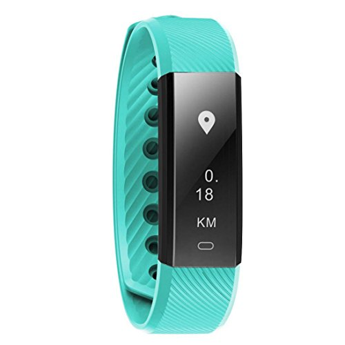 Fitness Tracker ID115 HR, Boofab Activity Tracker with Heart Rate Monitor Watch, IP67 Waterproof Smart Wristband with Calorie Counter Watch Pedometer Sleep Monitor for Kids Women Men (Mint Green) by Boofab