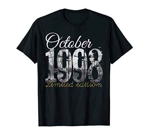 October 1998 Tee - 21 Year Old Shirt 1998 21st Birthday Gift T-Shirt (Birthday Gift Ideas For 21 Year Old Male)