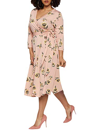 Linsery Women's Plus Size Wrap V Neck 3/4 Sleeve Floral Midi Dress Pink XL