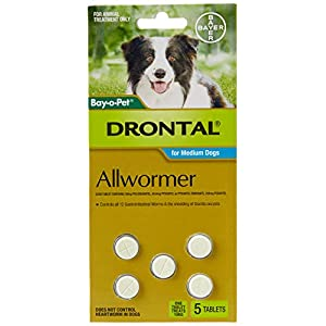Drontal Allwormer Tablets for Dogs 3-10kg, 5 Pack Click on image for further info.