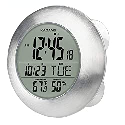 KADAMS Digital Bathroom Shower Clock, Waterproof for Water Spray, Seconds Counter, Temperature Humidity, Moisture Proof, Month Date Day, Suction Cups, Wall Hole & Stand - SILVER Brushed Aluminum Frame