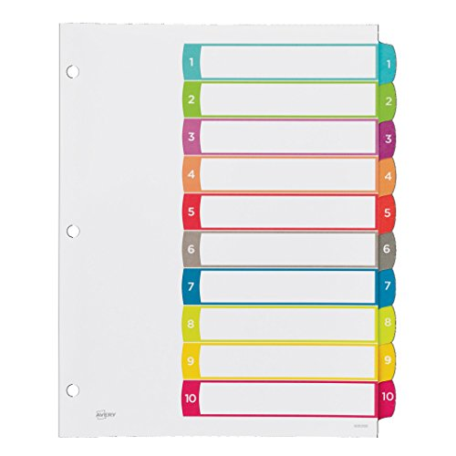 10 tab divider template - avery customizable table of contents dividers 10 tab set