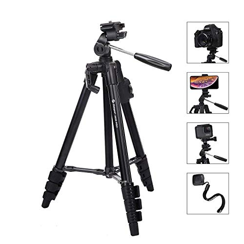 Fotopro Camera Tripod, 48″ Phone Tripod with 3-Way Head, Lightweight Aluminum Tripod for iPhone, Samsung, 1/4'' Screw Travel Tripod with Bluetooth Remote for DSLR Camera, Canon, Sony, Nikon