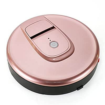 Robotic Vaccum Cleaner on Undercoat Carpet Marble Wooden Tile Floor has Adittional Round Brush Under the Device for Hair Dirt and Dust Removal (Rose-Gold)
