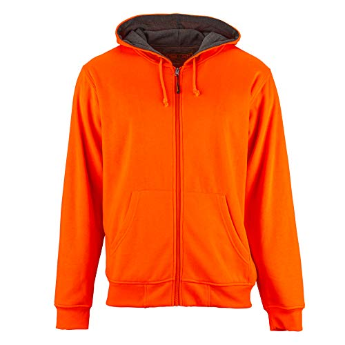- Men's Unique Zip Up Hoodie Sweatshirt-Thermal Knit-Blaze Orange